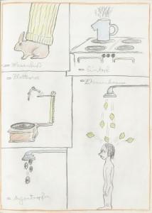 Das Knurbel-Knobel-Buch von Wladimir Nennemir, 1978 Bleistift, Buntstift, Ölkreide und Collage auf Papier, 52 Seiten, je 29 x 21 cm Privatsammlung Credit: Max Wegscheidler/UMJ